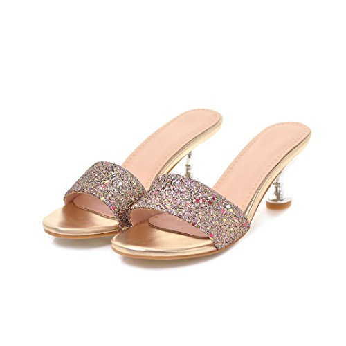 Gold Serate Moda Silver Colore Slipper Red e 35 Tacchi Party Dimensione Primavera a Spillo New B Estate per Womens's Paillettes Shoes qfOBZZ