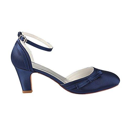 Caviglia Emily Scarpe Bridal Alla Blu Alto Cinturino Tacco Sposa Scuro Da Avorio zOzdrq5