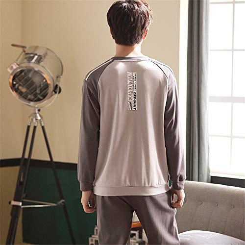 Collo Pigiama Mmllse Color Semplice Cotone Uomo Con Pigiama Photo Pigiama Rotondo In Addormentato Lunghe Maniche Homewear PZYrPw