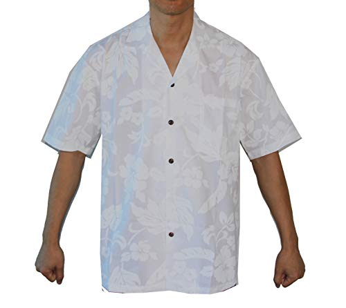 - Made in Hawaii! Men's Hibiscus White Wedding Hawaiian Shirts (XL, White/White)