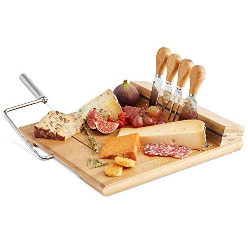 - VonShef Bamboo Cheese Board Server Plate with Integrated Wire Cutter and 4 Piece Stainless Steel Cheese Knife Serving Utensil Set, wooden, with Gift Box