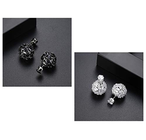 UMEYS Fahion Double-Sided Beads with Beads Zircon Stud Earrings Drop Earrings (color-17)