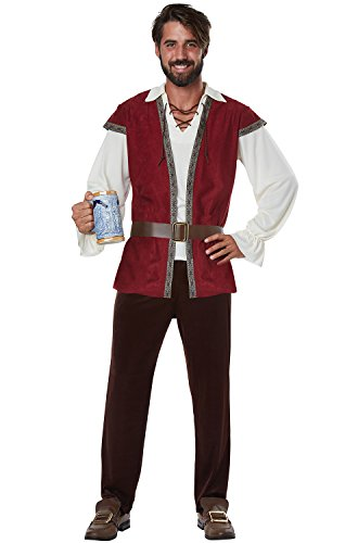 California Costumes Men's Medieval Adult Man Costume, Red/Cream, (Medieval Male Costumes)