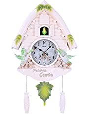 Cuckoo Clock with Natural Bird Voices, Birdhouse Wall Clock, Cuckoo Chime with Pendulum,Home Kids Bedroom Decor,A,4