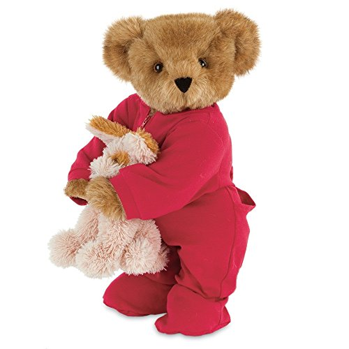 "Vermont Teddy Bear - 15"" Christmas Bedtime Bear with Puppy"