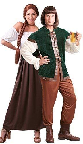 Couples Ladies & Mens Medieval Innkeeper Landlord Landlady Oktoberfest Beer Maiden Serving Wench Robin Hood Fancy Dress Costumes Outfits (UK 12-14 - Mens Large)]()