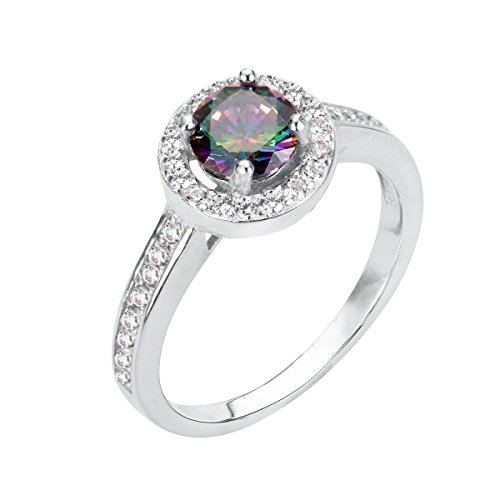 CloseoutWarehouse Clear Cubic Zirconia Round Three Stone Engagement Ring Sterling Silver