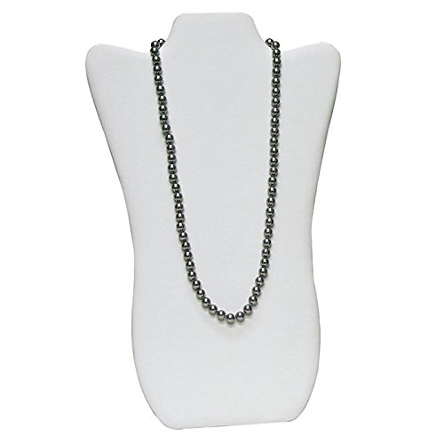 White Leatherette Jewelry Necklace Display Stand Easel - 14