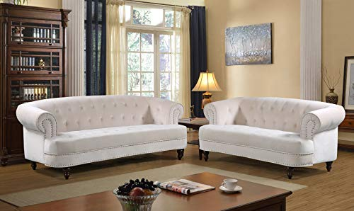 Container Furniture Direct S5404-2PC Vivian Modern Velvet Upholstered Nailhead Trim 2 Piece Living Room Set Ivory (Chesterfield Sofa Material)
