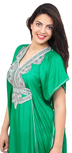 Moroccan Caftan Handmade Light Weight Cotton Silver Hand Embroidery Breathable Soft Green by Moroccan Caftans (Image #2)