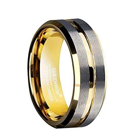 8mm Tungsten Carbide Ring Gold Silver Two Tone Wedding Engagement Band For Couples Bridal Jewelry Size (Elegant Music Rings)