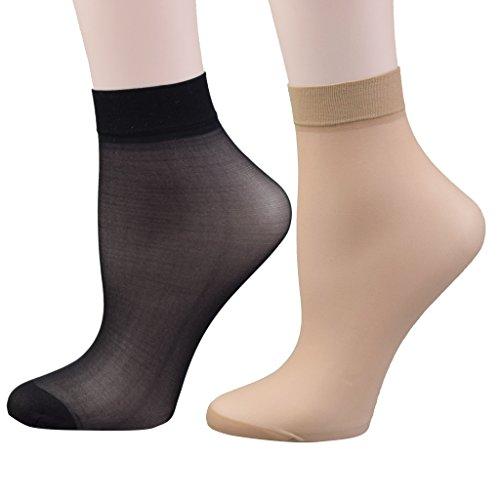 Fitu Women's 30D Sheer 12 Pairs Nylon Ankle High Tights (Nylon Anklet Socks)