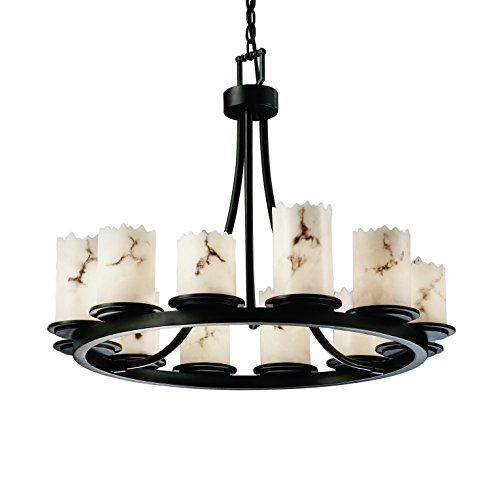 Justice Design Group Lighting FAL-8768-12-DBRZ Lumenaria Collection Dakota 12-Light Ring Chandelier, Short, 35