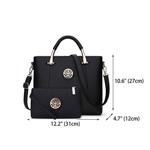 Women's Handle Handbags Black Bags Bags Body Cross Bags Faux Top Shoulder Leather qAgqrfz