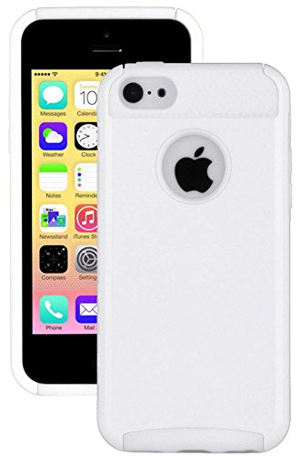 myLife Bright White Style 2 Layer (Hybrid Flex Gel) Grip Case for New Apple iPhone 5C Touch Phone (External Single Piece Full Body Defender Armor Rubberized Shell + Internal Gel Fit Silicone Flex Protector)