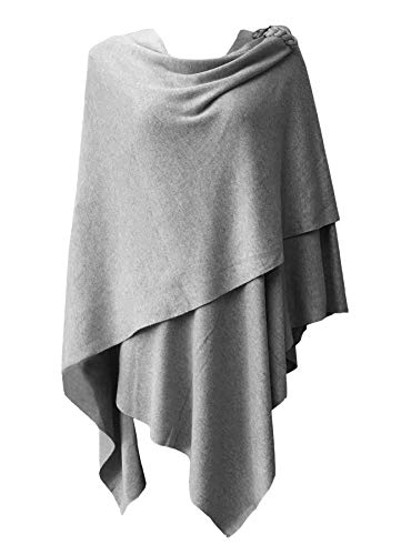(Womens Extra Large Poncho Sweater Cross Front with Brown Button Closure Wrap Topper Grey)