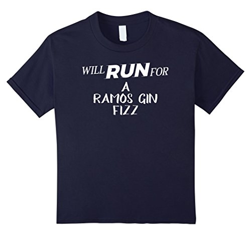 Kids Will Run for A Ramos Gin Fizz - Funny Drinking T-Shirt for R 12 Navy