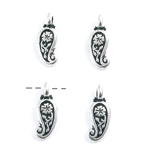 Tierracast Drops Charms - TierraCast Pewter Charms-FINE SILVER PLATED PAISLEY DROP (4)