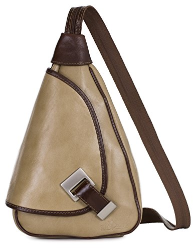 'mila' Of Liatalia - 2in1 - Small Shoulder Bag For Women Lightweight Convertible Backpack Camel Genuine Italian Leather - With Brown Border