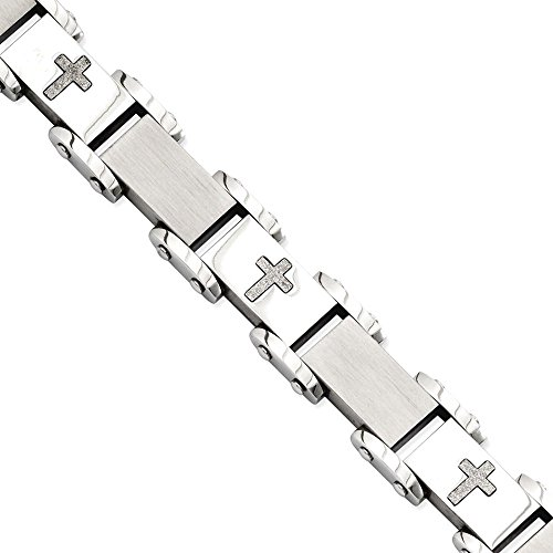 ICE CARATS Stainless Steel Crosses 8.75in Bracelet 8.75 Inch Contemporary Religious by ICE CARATS