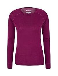 Mountain Warehouse Merino Womens Top - Thermal Ladies T Shirt Berry 4