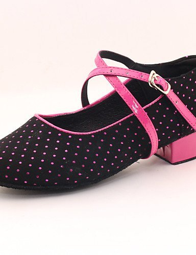 ShangYi Women's/Kids' Dance Shoes Modern Flocking Heel Black Black JaeesIYO