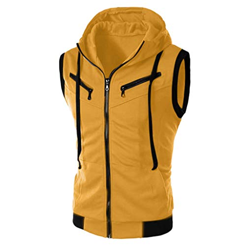 TIFENNY Fashion Hoody for Men Summer Casual Sleeveless Hooded Sport Vest Zipper Pure Color T-Shirt Tops Blouse Cardigan Yellow ()