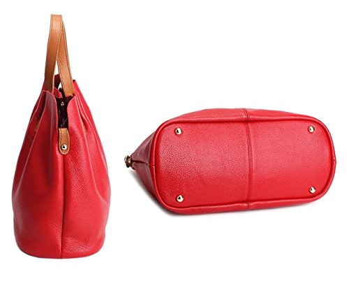Shoulder Genuine Lady Tote Bag Casual Leather TOYU Bucket Black Red Ladies Capacity S Satchel Bag Purse Tote by Women Shopping Handbag qrwrIB