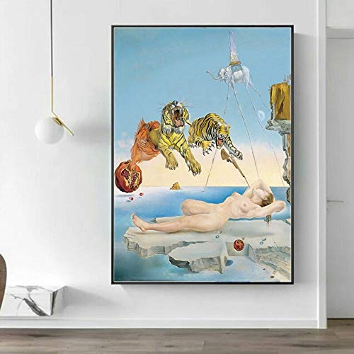 JFHSJ Poster Moderno Salvador Dali Mujer Lienzo Carteles e Impresiones Cuadros artisticos de Pared para la de la Sala de Estar 50 75cm