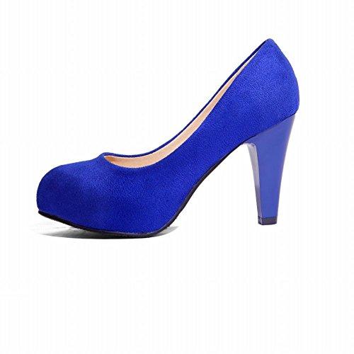 Latasa Damesmode Enkele Kleur Hoge Hak Ronde Neus Nubuck Dress Pumps Royal Blue