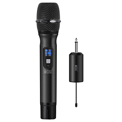 TONOR Wireless Microphone Handheld Mic UHF 25 Channel with Mini Receiver 1/4'' Output for Stage/Church/Karaoke/Party/Business Meeting/PA Systems, Black by TONOR