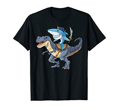 T-shirt Jawsome - Shark Riding Dinosaur T rex T Shirt Pirate Jawsome Tees Kids