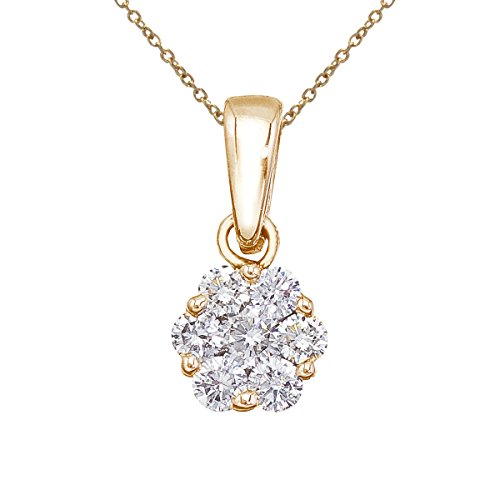 "0.50 Carat (ctw) 14k Yellow Gold Round Diamond Women's Flower Cluster Pendant with 18"" Chain Necklace"