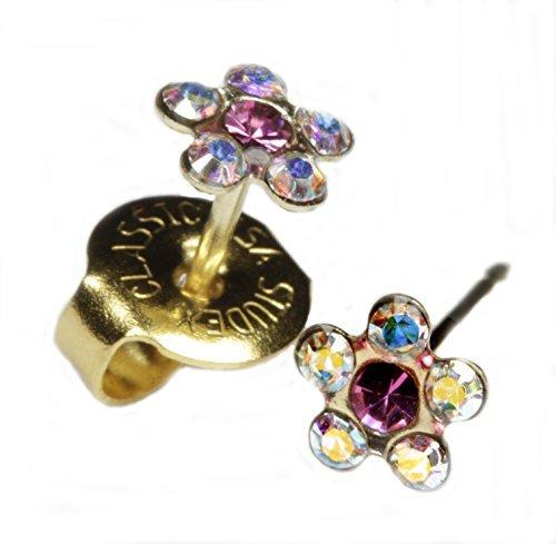 (Ear Piercing Earrings Rainbow Crystal Daisy Flower Gold Studs
