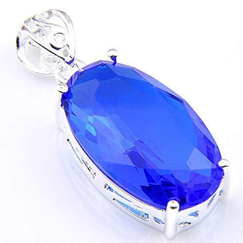 Jewelryamintra Classical Oval Cut Swiss Blue Topaz Gemstone Silver Woman Necklace Pendants - Oval Cut Swiss