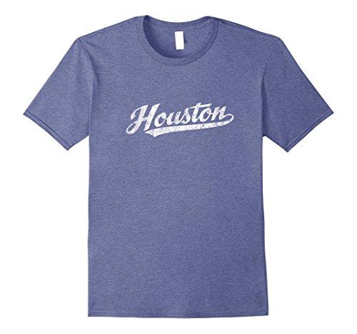 Retro Sport Vintage Tees - Mens Houston Texas TX T-Shirt Vintage Sports Script Retro Tee Large Heather Blue