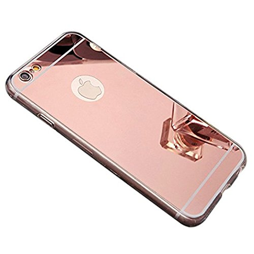 "Coque etui de protection iphone 6 6s silicone gel semi rigide effet miroir OR rose + film d'écran en verre BACK CASE ""MIRROR"" iPhone 6 S"" OR rose IPHONE 6 Gold Rose+ film verre trempe 9h"