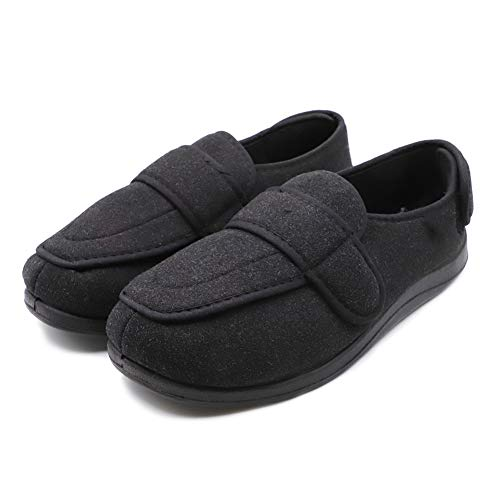 Mens Diabetic Slippers Edema Shoes with Adjustable Closures Extra Wide Width House Diabetes Strap Footwear Easy On Off for Swollen Feet Elderly Father Husband Indoor Outdoor