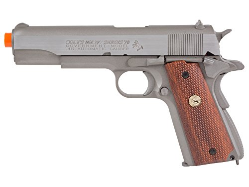 Mkiv Spring Pistol Colt - Palco Sports Airsoft - Model 180529 Colt 1911 Mkiv Series 70 Co2 Full Metal Blowback- Silver/Brown Grip, Silver