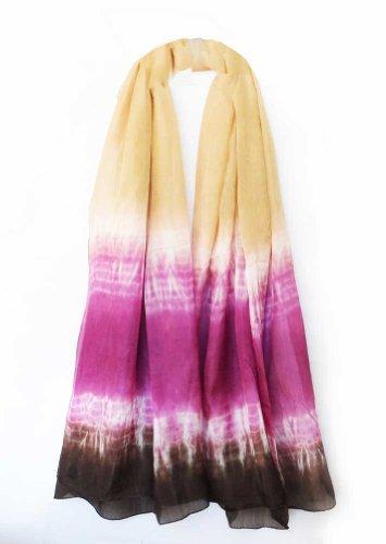 (100% Habutai Silk Hand Tie Dyed Crinkled Stole 42