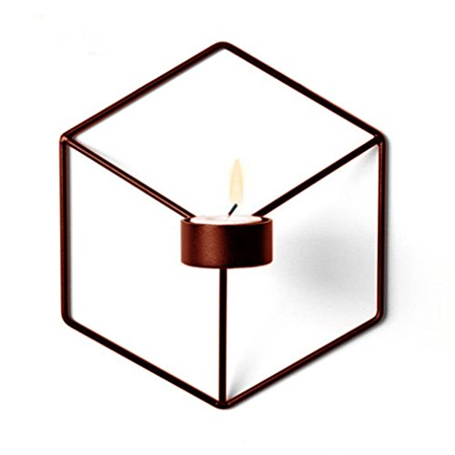 Metal Sabbath Candlesticks - Yeefant Nordic Style 3D Geometric Candlestick Metal Wall Candle Holder Props Tea Light Candle Holders Wedding Coffee Bar Decorative Centerpieces for Birthday Gifts,8(H) x5(W) x7.3(D),Bronze