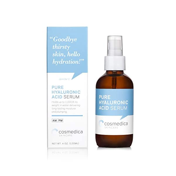 Cosmedica Hyaluronic Acid Serum for Skin – 4 Fl. Oz Hydrating Facial Moisturizer with Anti-Aging Skin Care Properties…