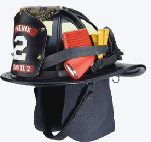 Phenix Traditional Leather Firefighting Helmet- Black with Ratchet Suspension (Best Leather Fire Helmet)