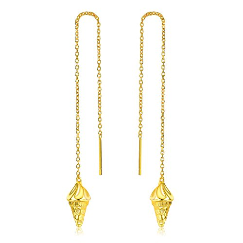 Licliz Ice Cream Designed Threader Earrings 925 sterling Silver Plated 18K Gold - Ice Cream Cone Dangle