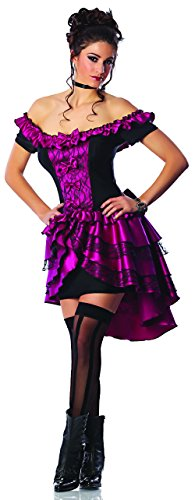 Purple Saloon Girl Costume (Delicious Dance Hall Queen Costume, Magenta/Black, Medium)