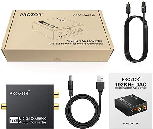 PROZOR 192KHz Digital to Analog Audio Converter DAC Digital SPDIF Optical to Analog L/R RCA Converter Toslink Optical to a few.5mm Jack Adapter for PS3 HD DVD PS4 Amp Apple TV Home Cinema