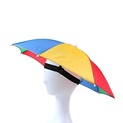 JANGANNSA Funny Umbrella Hat Adult and Kids Folding Cap for Beach Fishing Golf Party Headwear (Color3, 1Pack)]()