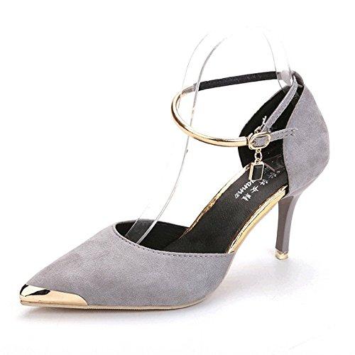 In Primavera E In Estate, Le Donne Hanno Messo I Tacchi, Sottile, Scarpe E Superficiale Suede Shoes,Grey,Eu35,Cn36