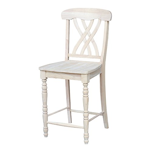 International Concepts S-3902 Unfinished Lattice Counter Height Stool, 24-Inch, Brown ()