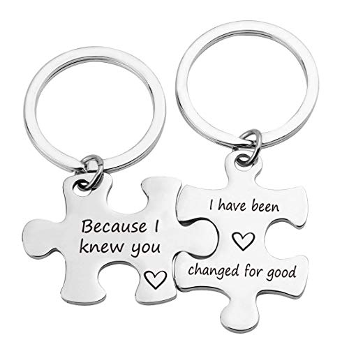 TOGON Graduation Puzzle Keychains Because I Knew You I've Changed for Good Long Distance Friendship Keychain (Because I Knew You KR)